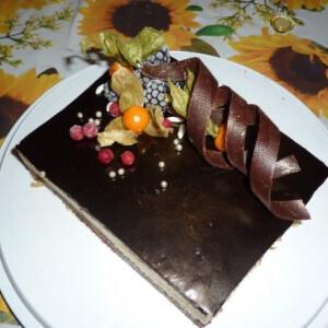 Kesudiós torta meggyel és csokoládéval