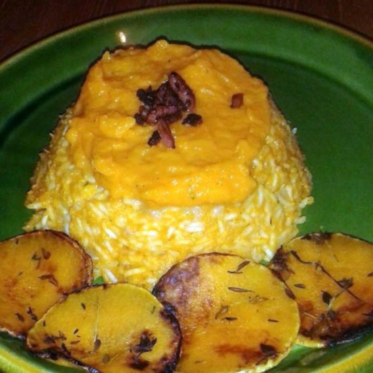 Ezen a képen: Sütőtökös rizottó sütőtök chipsszel