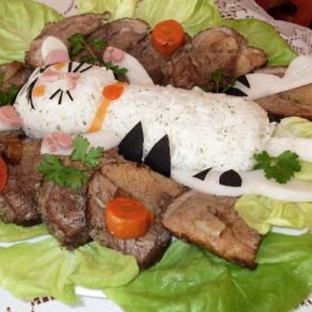 Ezen a képen: Tűzdelt marhasült cicás rizskörettel
