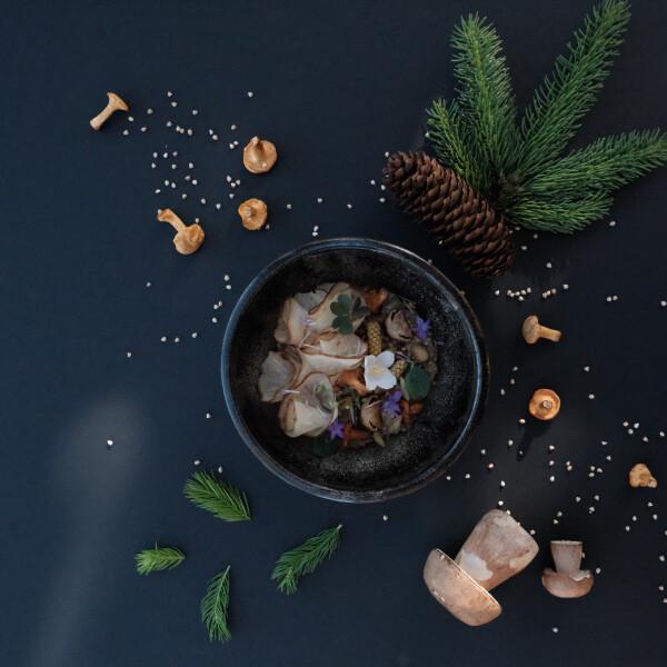 Zelleres hajdinakása, fenyővel, erdei gombákkal
