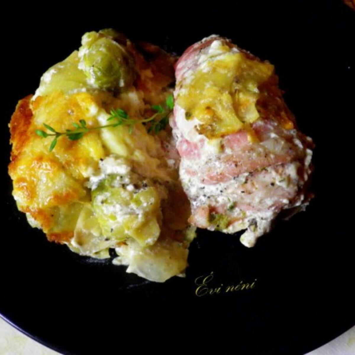 Tejszínben sült csirke burgonya-kelbimbós gratinnel