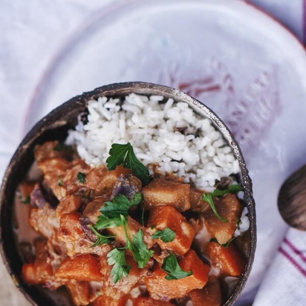 Vegán édesburgonya curry