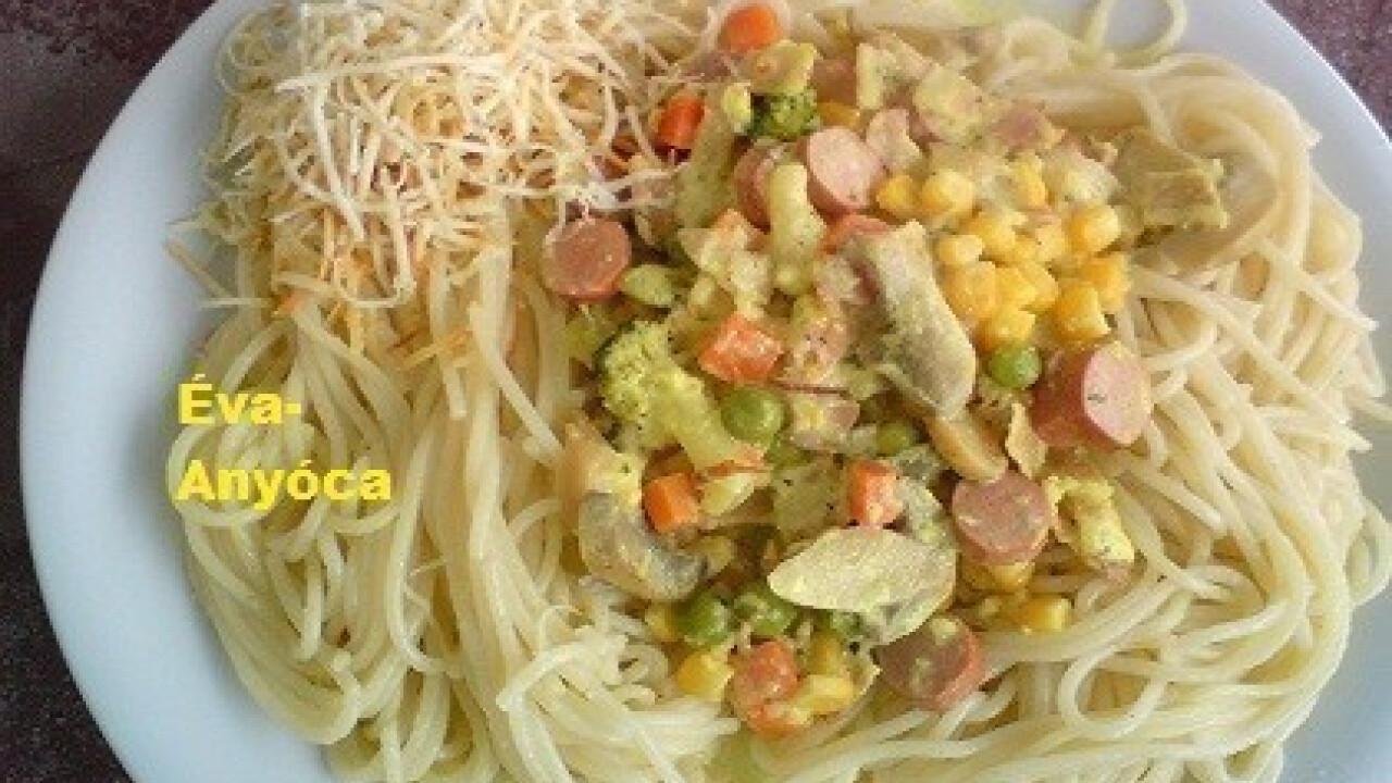 Kukoricás-kétsajtos spagetti