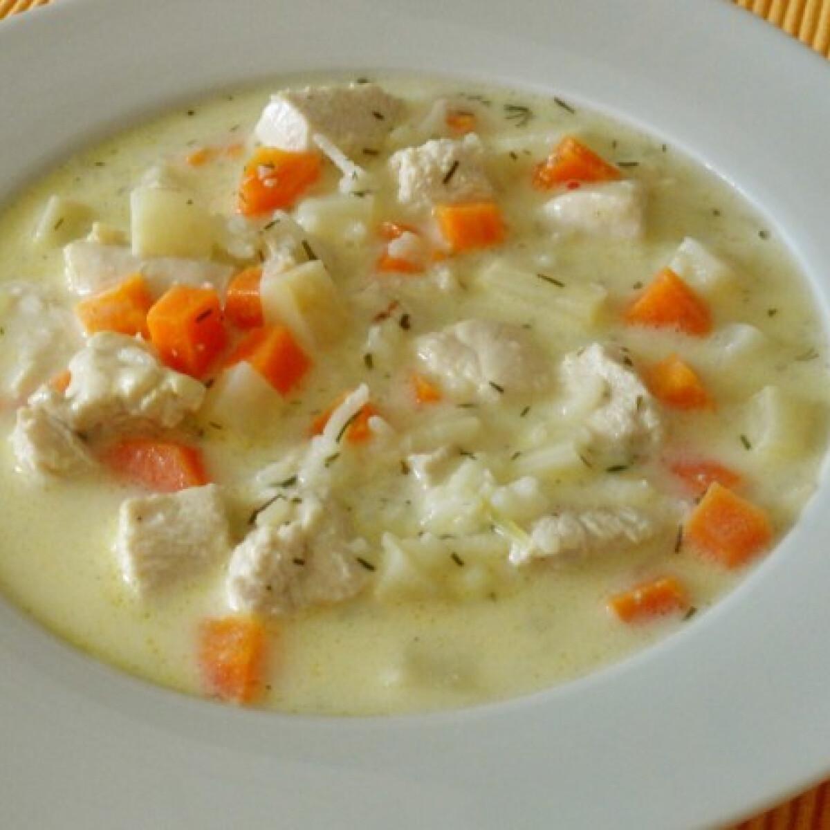 Ezen a képen: Kapros csirkebecsinált leves