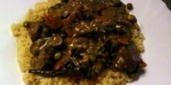 Csirkemáj mustáros szószban, zöldségekkel