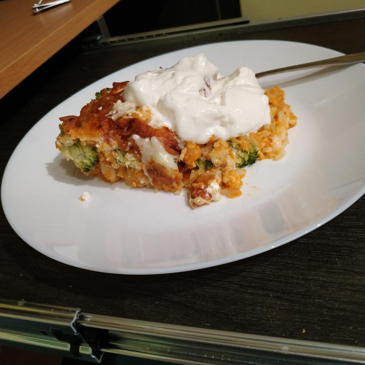 Édesburgonyás, csirkés, rakott brokkoli