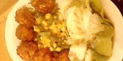Cukkinis fasírt zöldségkörettel