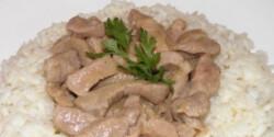 Borsos tokány pirított rizzsel