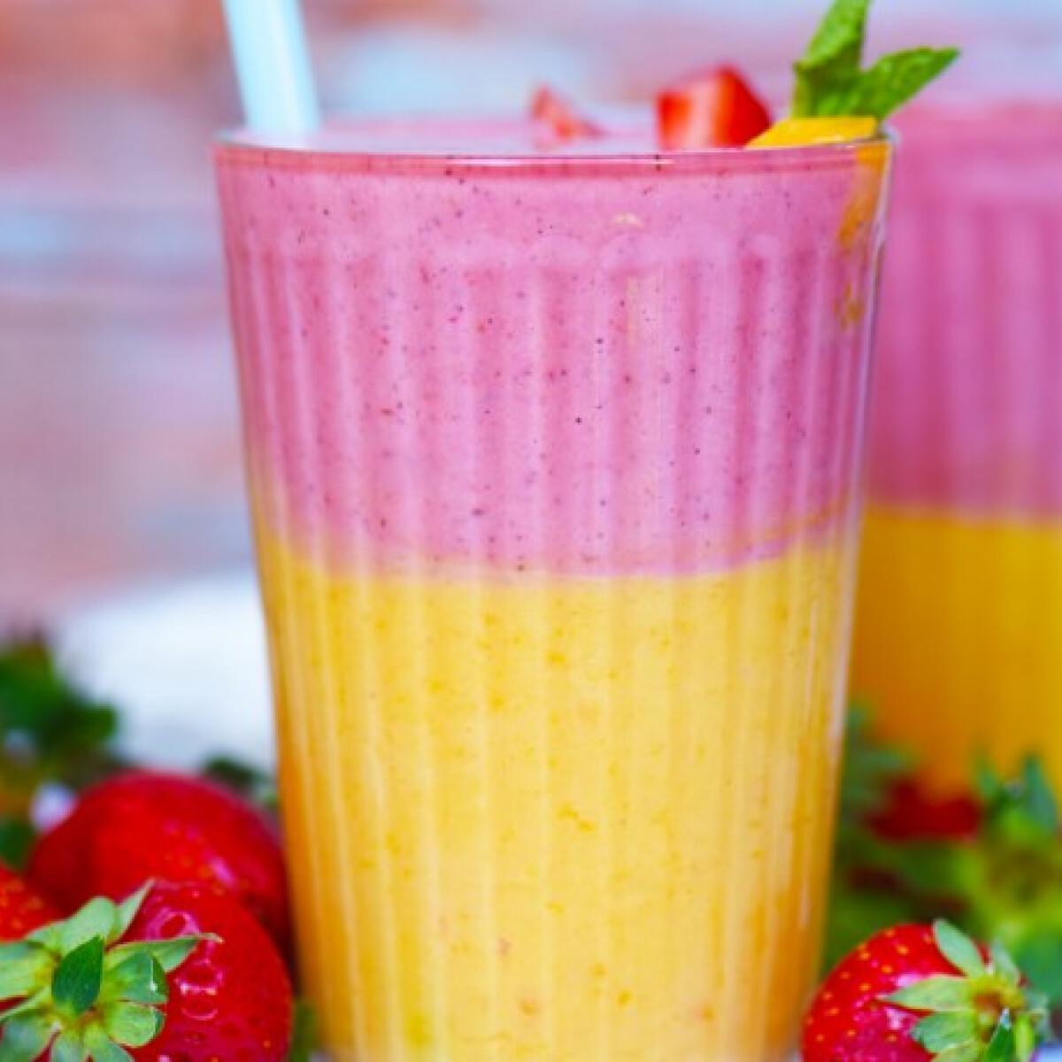 Ezen a képen: Epres-mangós-mentás smoothie