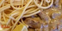 Tejszínes mustáros hús makarónival