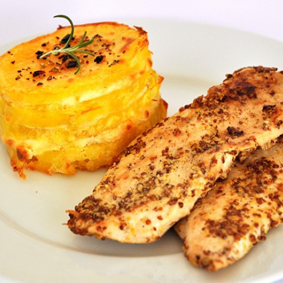 Ezen a képen: Mustáros csirke krumplival Oszvald Marikától