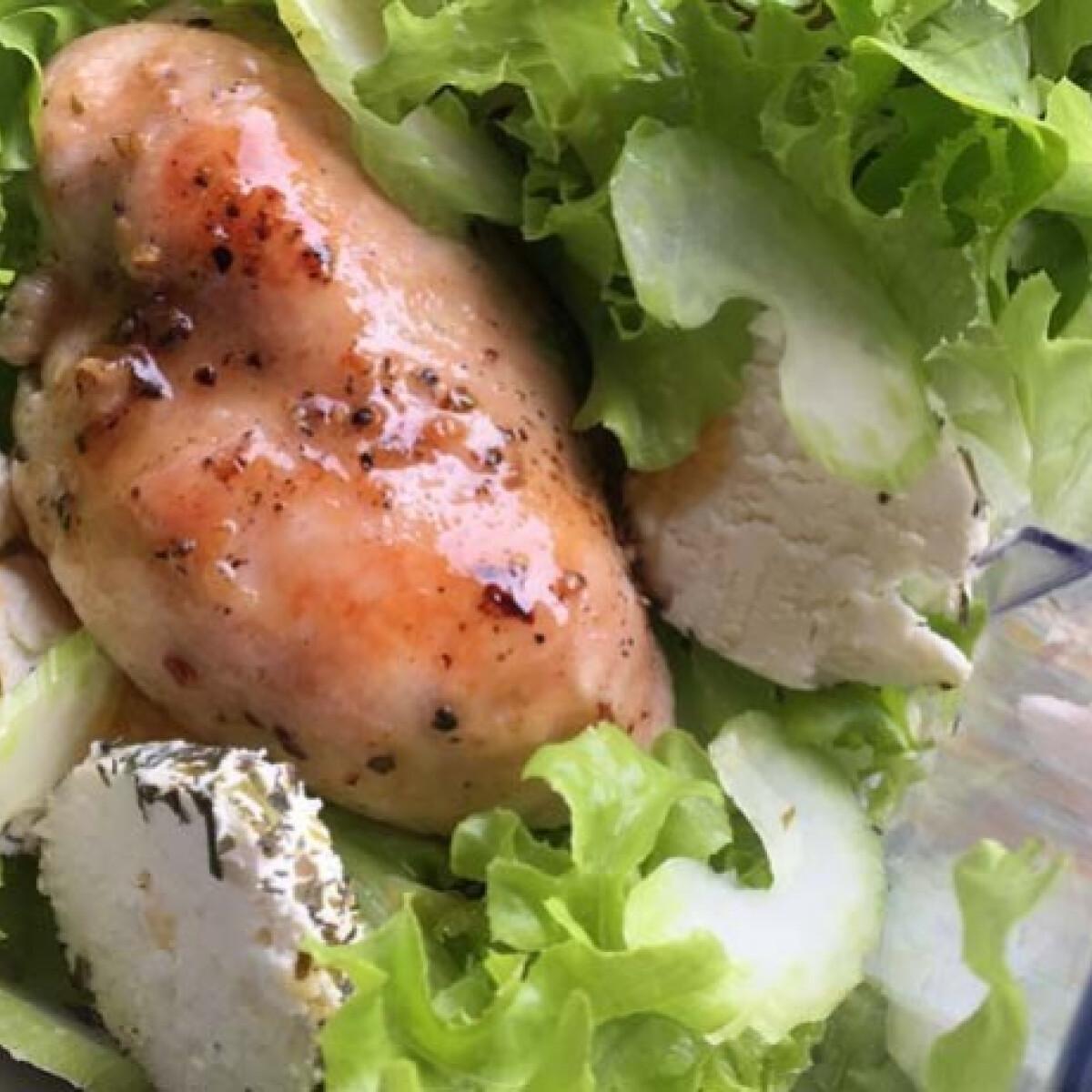 Ezen a képen: Kecskesajtos csirkesaláta