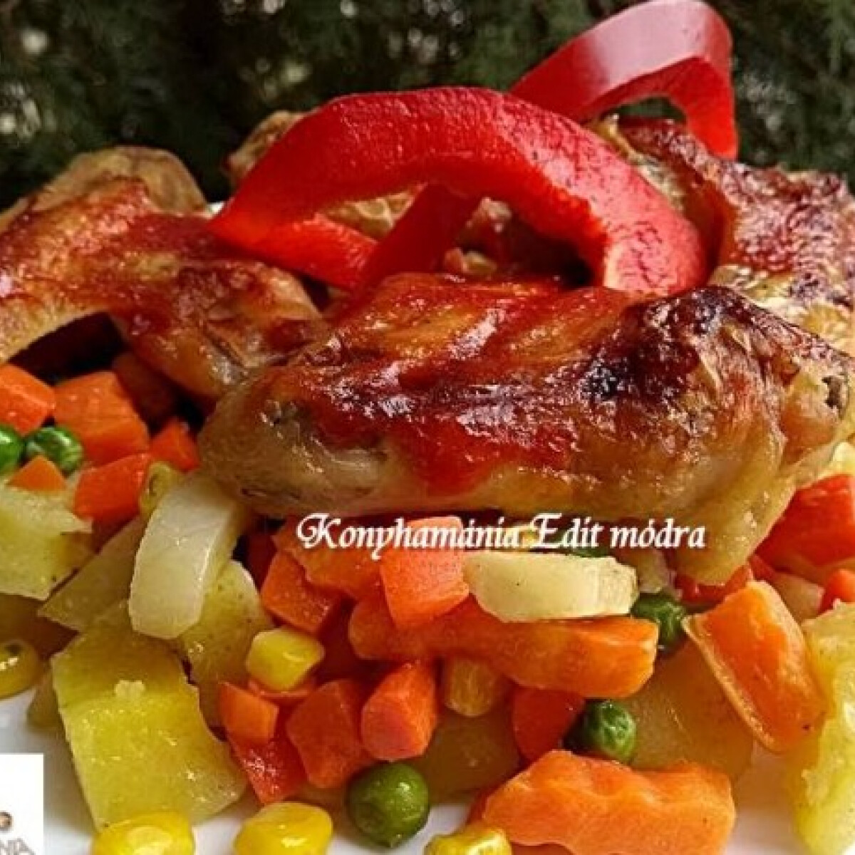 Ezen a képen: Krumpliágyon sült fűszeres csirkeszárny