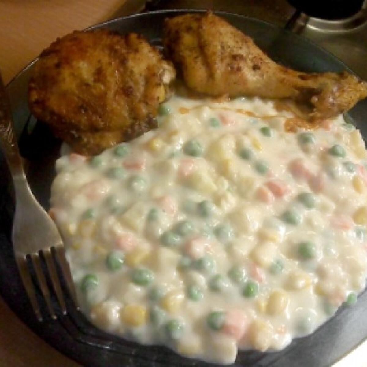 Ezen a képen: Finomfőzelék sült csirkecombokkal