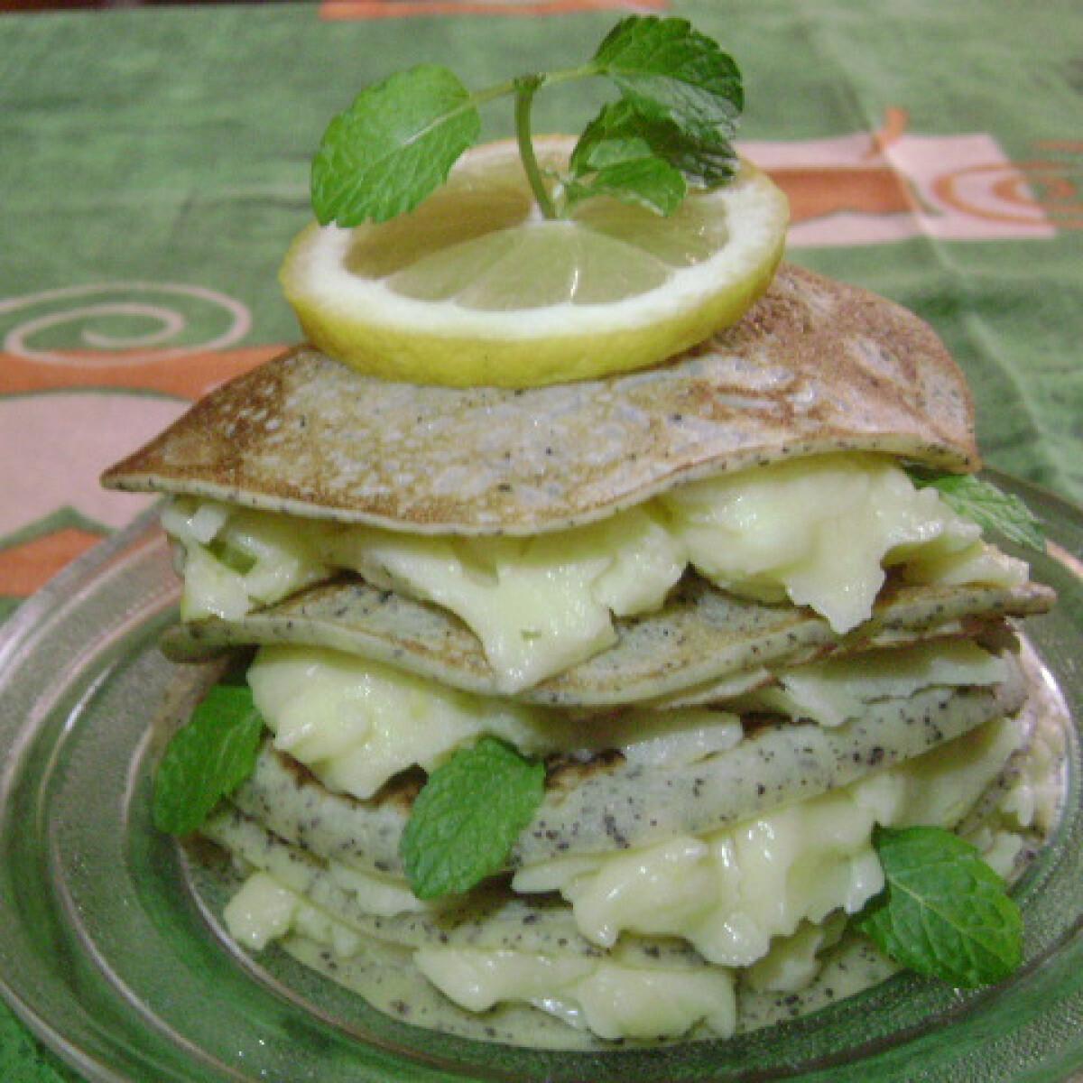 Ezen a képen: Mákos palacsinta citromos vaníliapudinggal