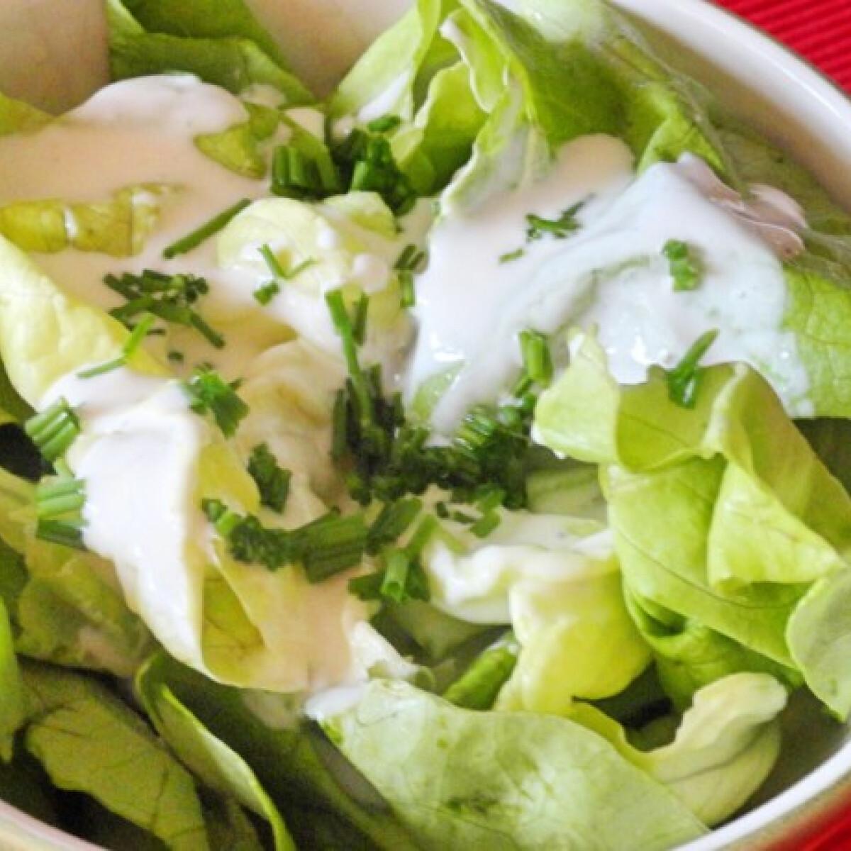 Ezen a képen: Fejes saláta joghurt dresszinggel