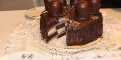 Négercsókos sakktorta csokoládéval öntve