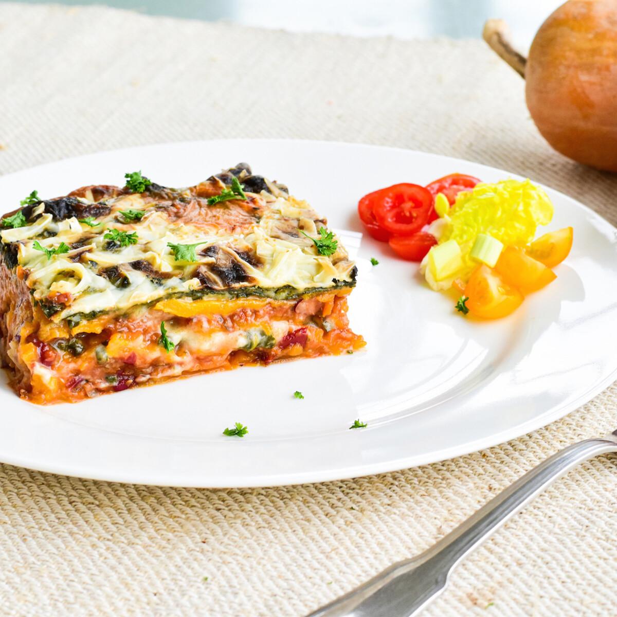 Ezen a képen: Sütőtök lasagne – tészta nélkül csak zöldségekből