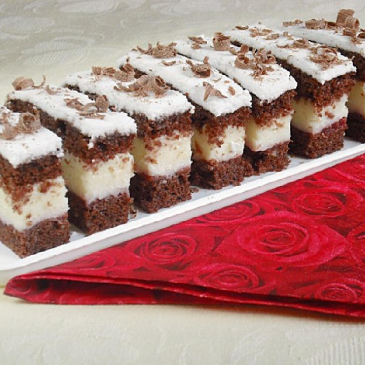 Csokis-meggyes-krémsajtos szelet