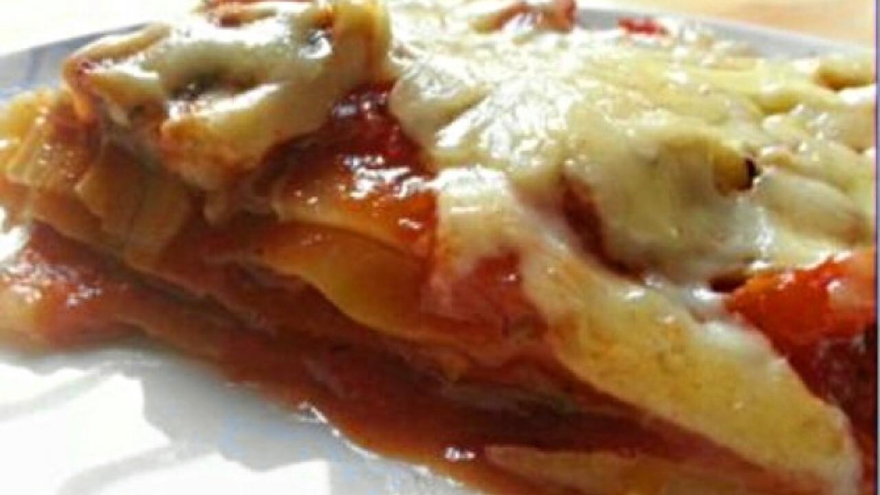 Vegetáriánus zöldséges lasagne