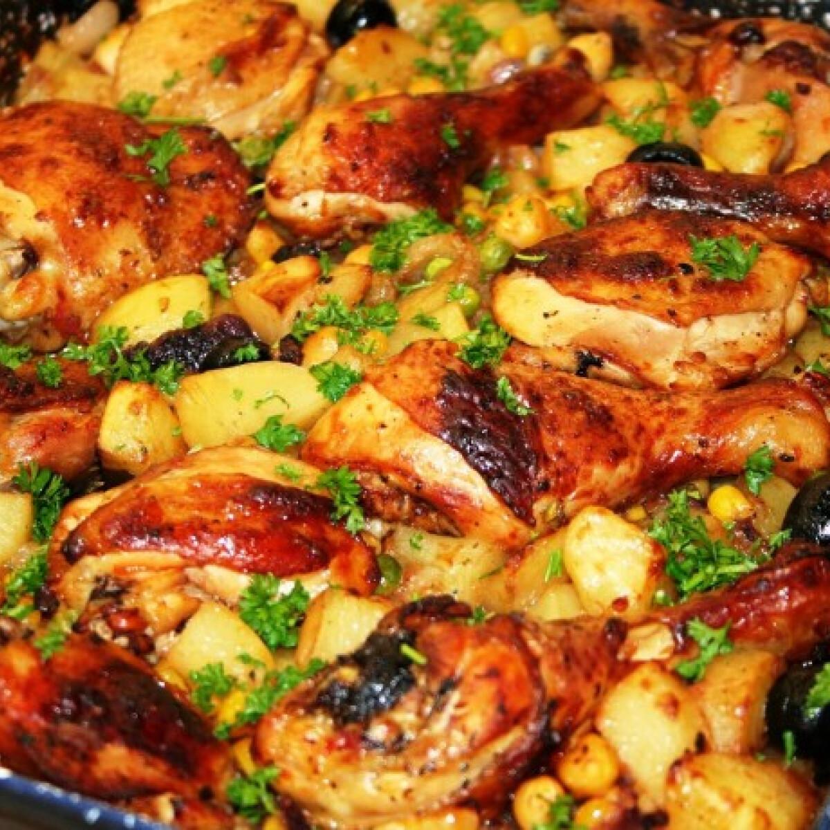 Ezen a képen: Tepsis csirkecomb zöldségekkel