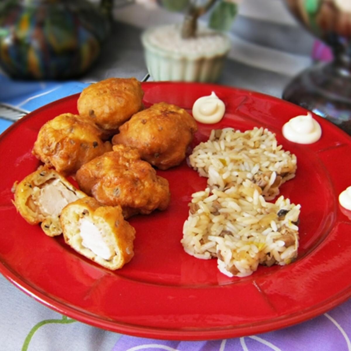 Gombabundás csirkefalatkák gombás rizzsel