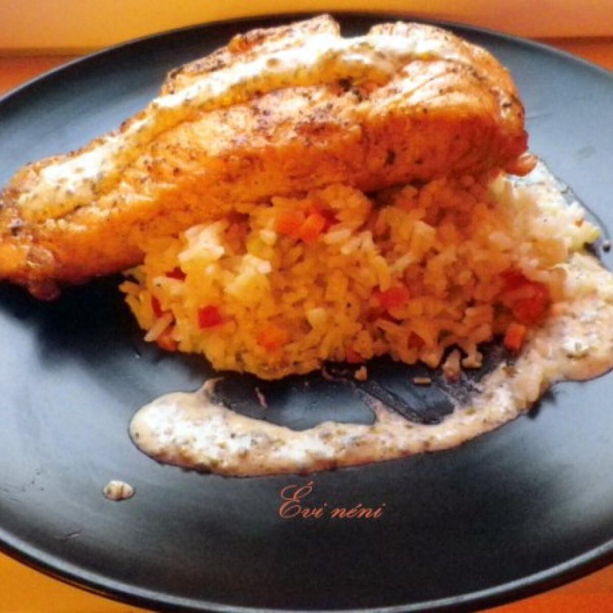 Ezen a képen: Sült lazac kapris-mustáros mártással