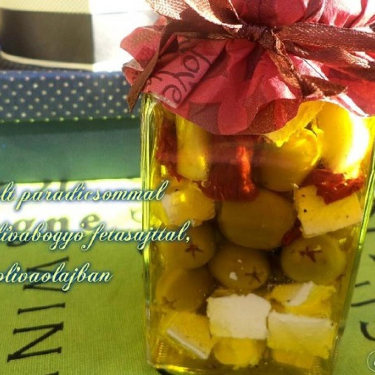 Ezen a képen: Aszalt paradicsommal töltött olívabogyó feta sajttal