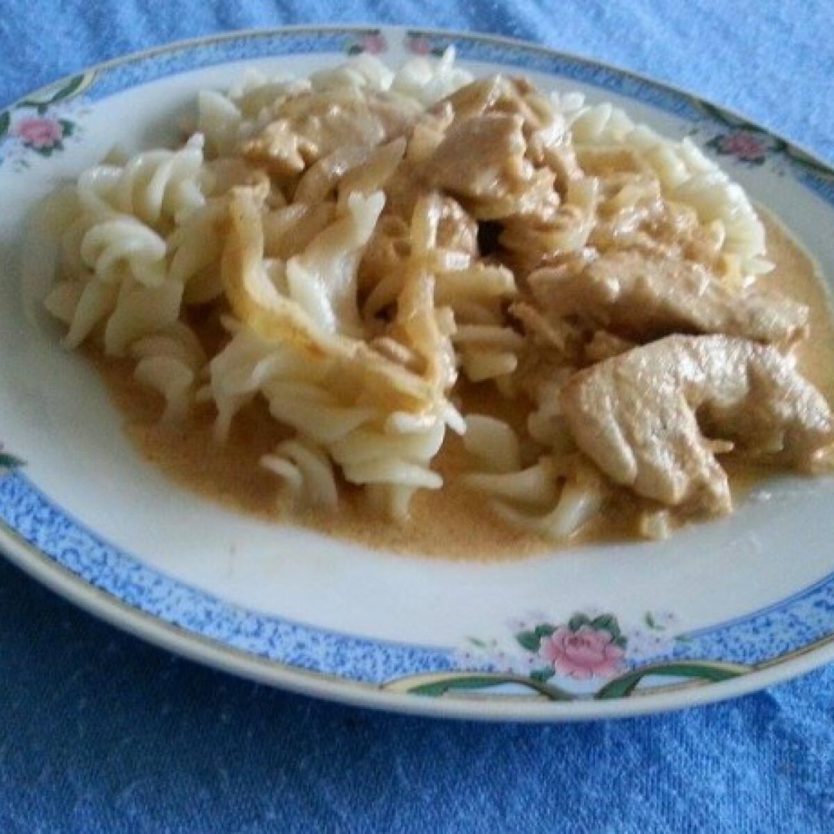 Ezen a képen: Mustáros-hagymás csirkemell Gombácska konyhájából