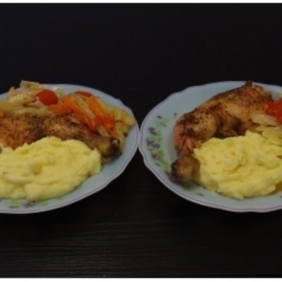 Ezen a képen: Fűszeres csirkecombok zöldségágyon