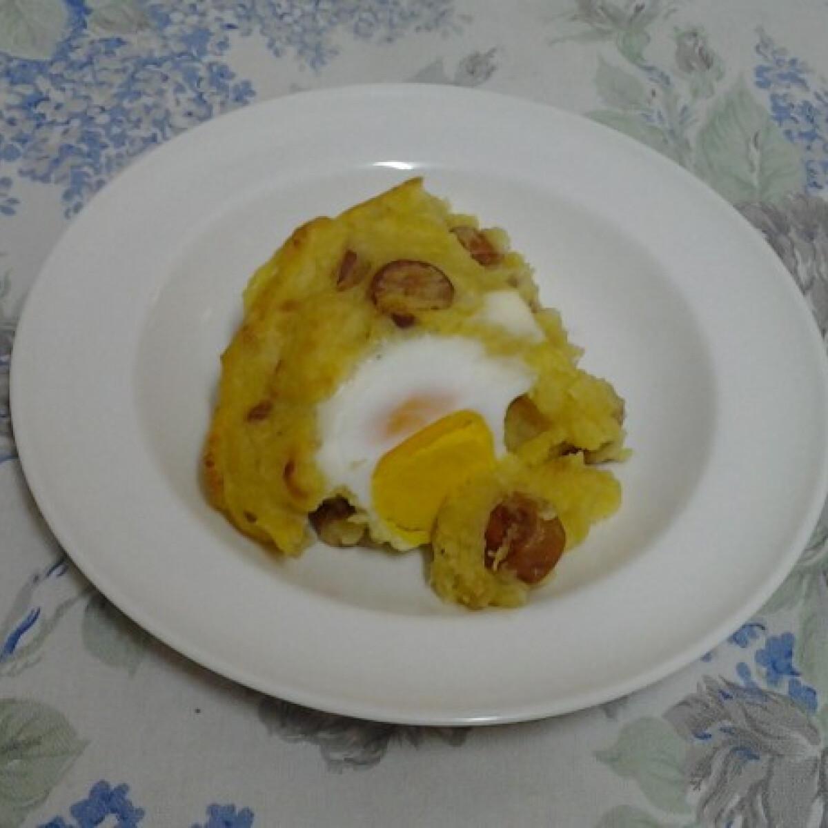 Ezen a képen: Sült krumplipüré virslivel