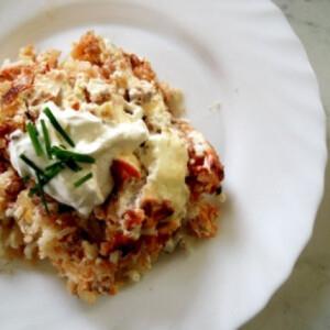 Nyári darált húsos rakott rizs
