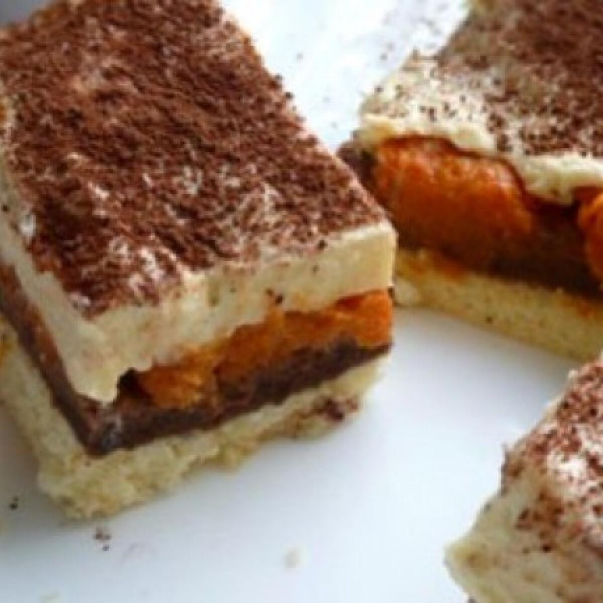 Ezen a képen: Vaníliás-kakaós-barackos süti