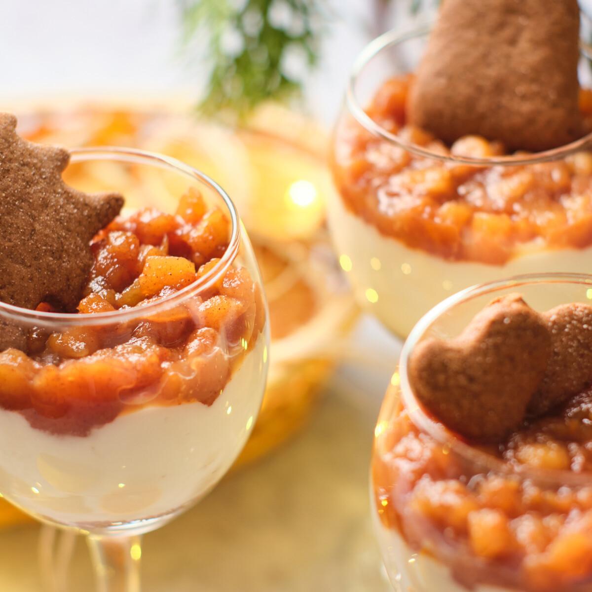 Ezen a képen: Mézeskalácsos pohárkrém karamellizált almával