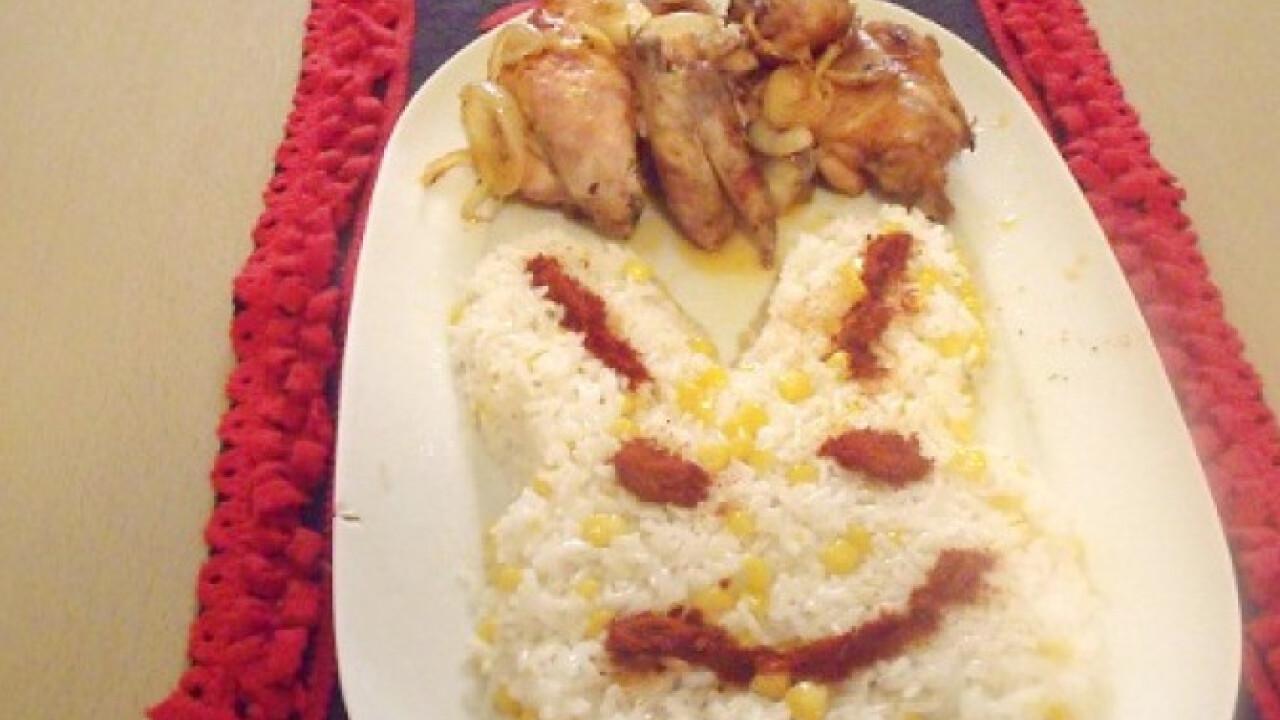 Csirke kukoricás rizses nyuszifejjel