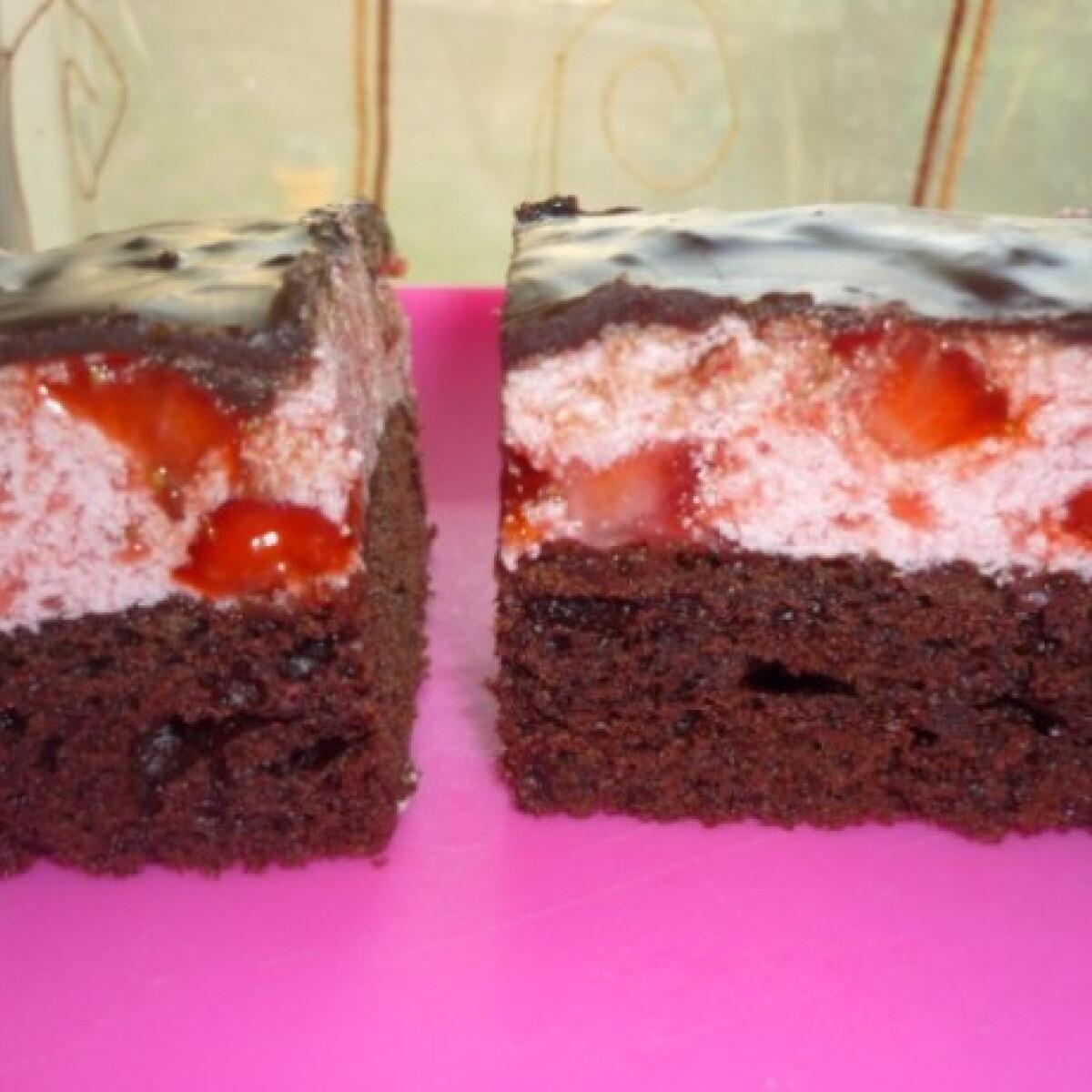 Ezen a képen: Eperkrémes brownie