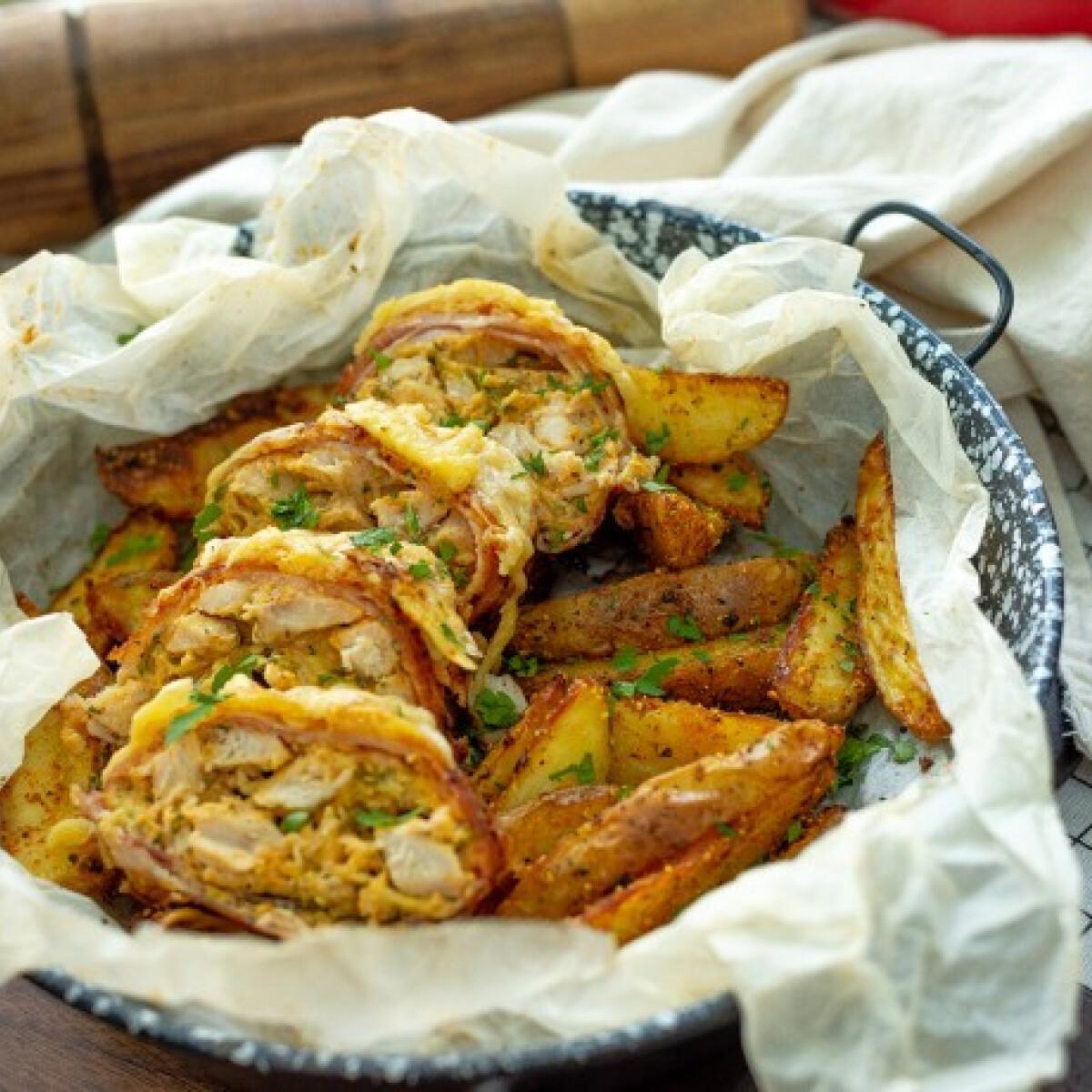 Ezen a képen: Sajtos-tejfölös-baconös csirkemell őzgerincben sütve