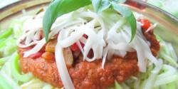 Tökspagetti mediterrán zöldségmártással