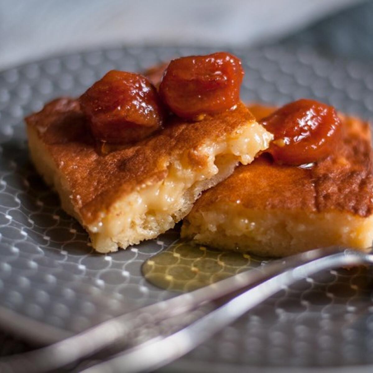 Ezen a képen: Pecorinós süti kandírozott koktélparadicsommal