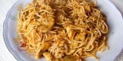 Bolognai csirkemell sült tésztával