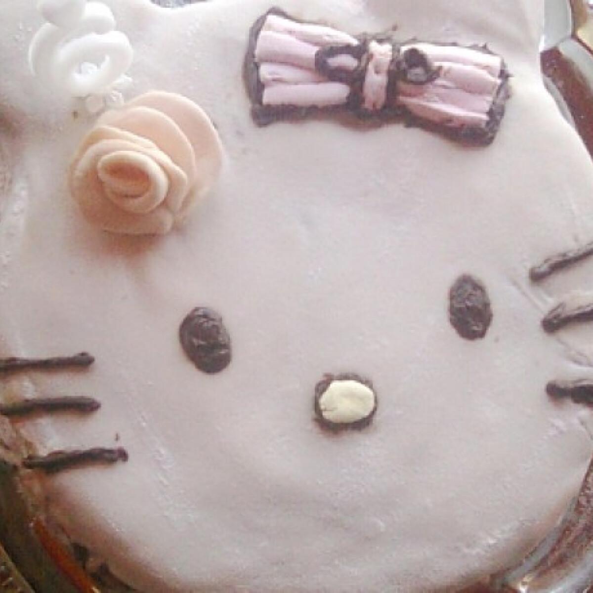 Ezen a képen: Csokoládés Hello Kitty torta Saci konyhájából