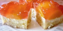 Mandulás-barackos-túrós süti