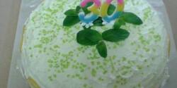 Szivárvány torta túróhabos citromkrémmel