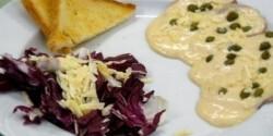 Konfitált borjú fehérpecsenye tonhalhúsos majonézzel