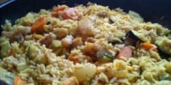 Cápaharcsás-zöldséges barna rizs