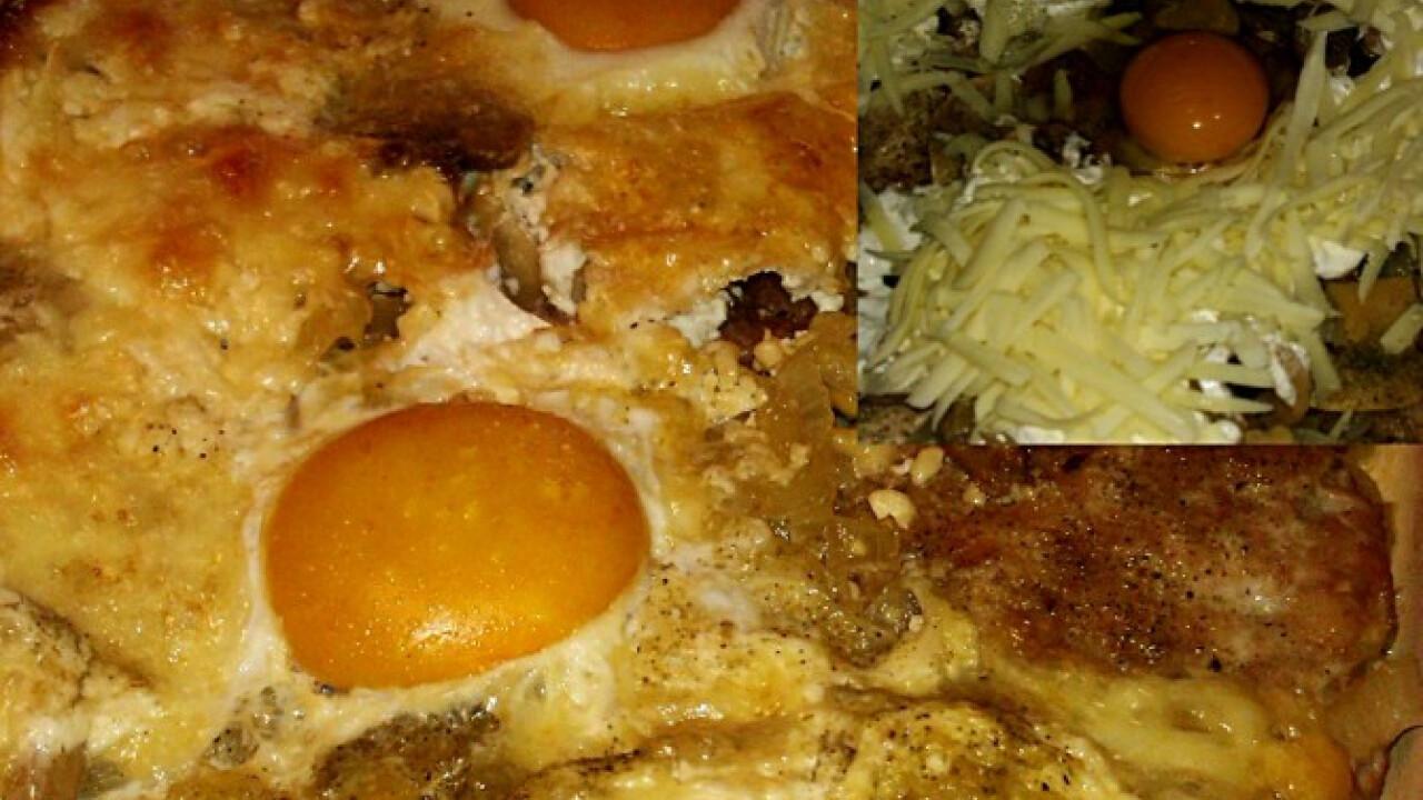 Gombás-hagymás-tojásos sült tarja
