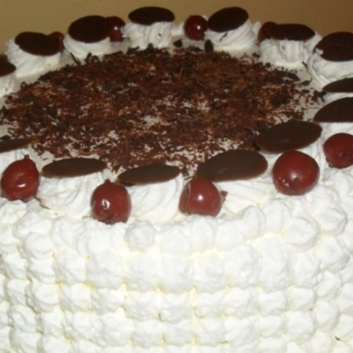 Ezen a képen: Csokis-tejszínes feketeerdő-torta