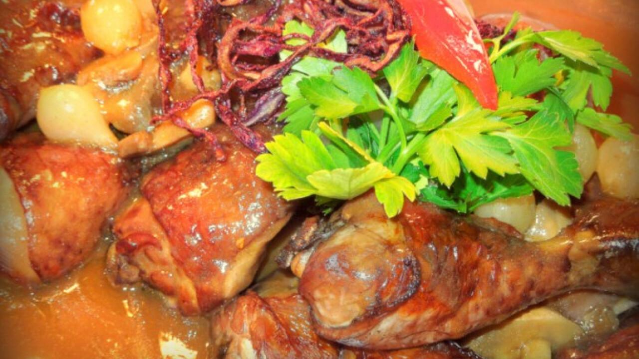 Francia vörösboros csirkecombok